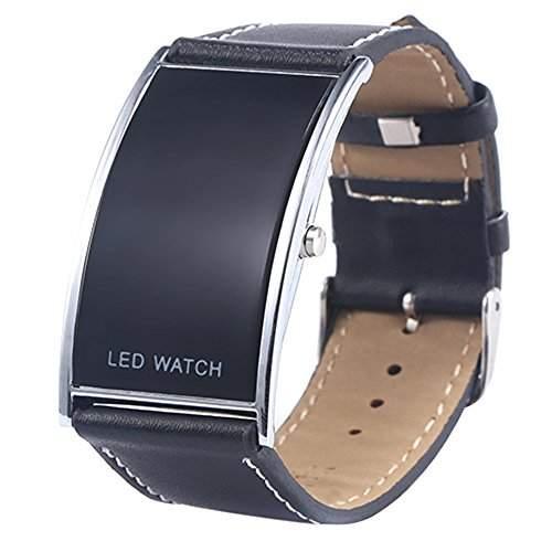 Maenner Fraun Bogen-Form LED Digital Datumsanzeige Kunstleder Armband Trend Uhr