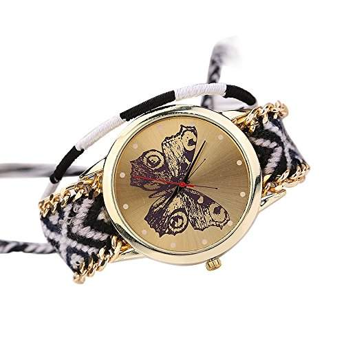 Damen Handmade Handgefertigt schoen Schmetterling Muster gestrickt gewebte Seil Band Analog Quarz Armbanduhr Mode 9