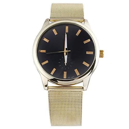 Damen Herren Gold Legierungsgitter Netzband Armband Quarz Armbanduhr Schwarz