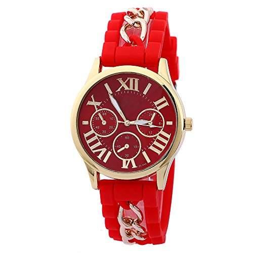Damen Herren Gold Gehaeuse Roman Silikon Legierungsband Quarz Armbanduhr Watch Rot