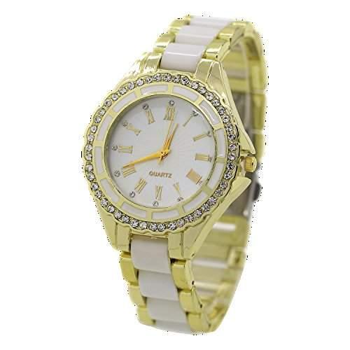 Damen Quarz Uhr Roman Strass Gold Legierungsarmband Analog Armbanduhr Weiss