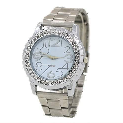 Damen und Herren Crystal Kristall Edelstahl Armband Analog Quarz Armbanduhr Silber