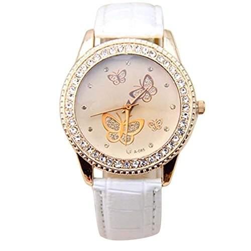 Damen Kunstleder Armband Gold Strass Schmetterling Quarzuhr Armbanduhr Mode Weiss