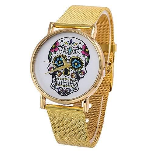 Unisex Punk Schaedel Uhr Goldenen Netz Legierungsband Uhr Mode Quarzuhr Armbanduhr fuer Frauen und Maenner