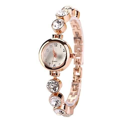 Sanwood Frauen Legierung Kristall Strass laessig Bracelet Armbanduhr