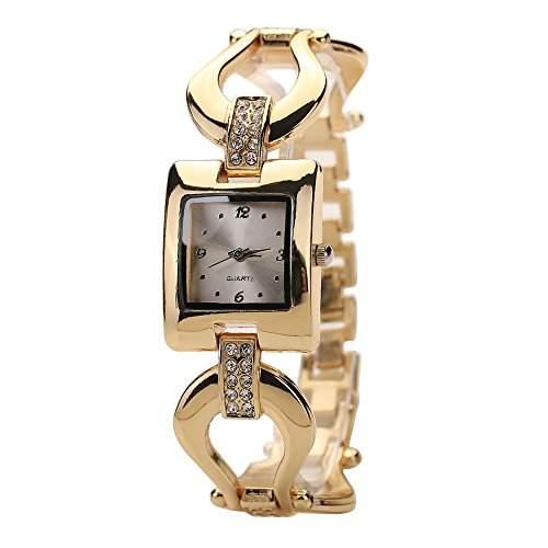 Sanwood Frauen Goldenen Armband Strassstein Square Kleid Armbanduhr