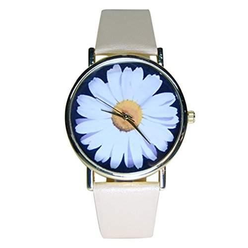 Sanwood Damen Studenten Armbanduhr Kunstleder Blumen Muster Beige