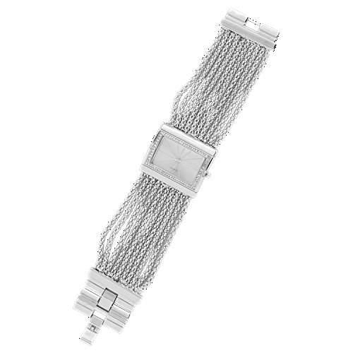 Sanwood Damen Diamant Kasten Legierungs Armband Uhr Watch Silbrig