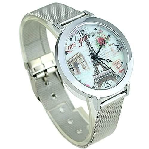 Damenmode Eiffelturm Muster Silbrige Band Quarz Uhr Armbanduhr Model 2
