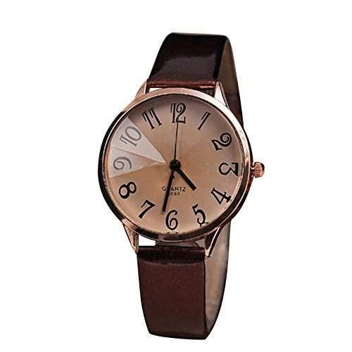 Sanwood Damen Kunstleder Armband Analog Uhr Armbanduhr Braun