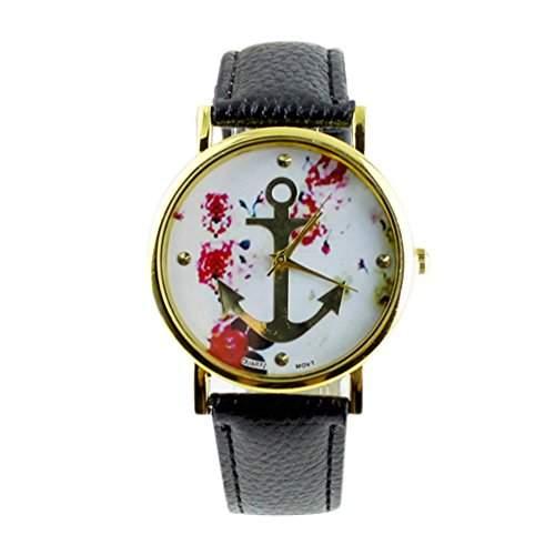 Sanwood Damen Uhr Armbanduhr mit Blumenmuster Anker Schwarz