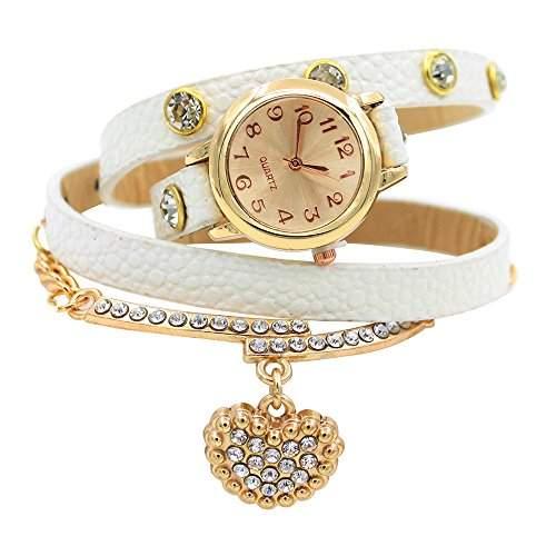 Sanwood Damen Uhr Strass -Armbanduhr mit herzfoermigem Anhaenger Weiss