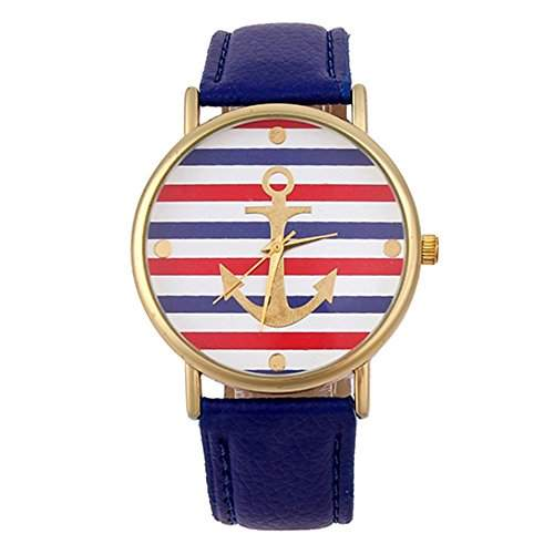 Sanwood Damen gestreift Anker Muster Leder Armband Uhr Armbanduhr Blau