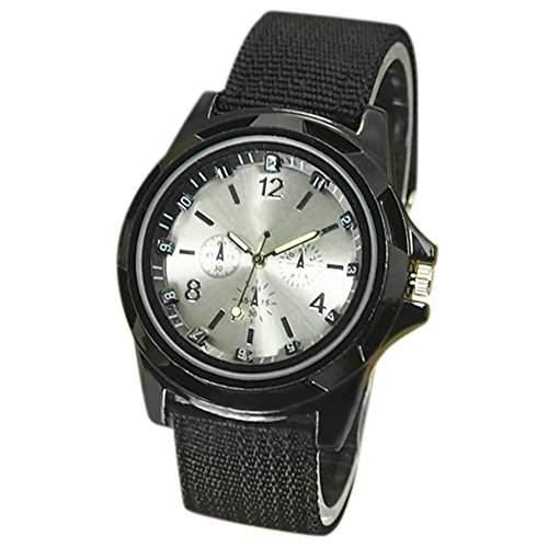 Sanwood Herren Militaer Armee Design Band Nylon Uhr Armbanduhr Schwarz