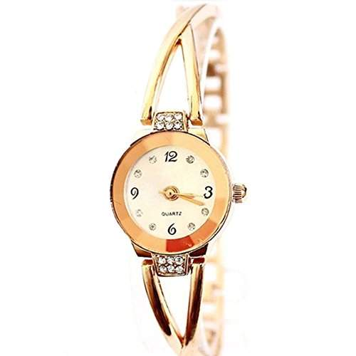 Sanwood Damen Legierung Strass Armband Runde Zifferblatt Uhr Armbanduhr