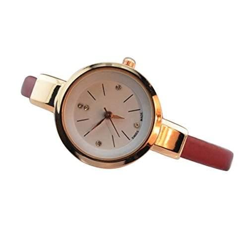 Sanwood Frauen Damen duenne Armband Uhr Armbanduhr Watch Rot