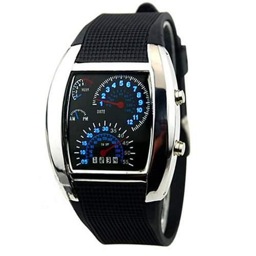 RPM Turbo Blau Blinkt LED Uhr Gummi Band Zifferblatt Datum