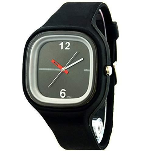 Herren Damen Gelee Silikon Fashion Quartz Armbanduhr Uhr Schwarz