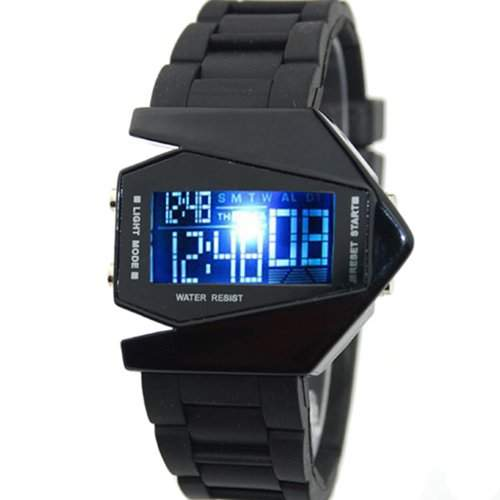 COOL Herrenuhr gross Licht digitalen Sport Quarz Armbanduhren Rubber Schwarz