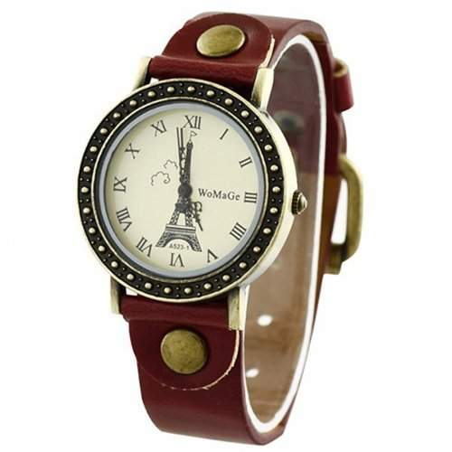 Eiffelturm-Zifferblatt Dame Uhr Stilvolle Armbanduhr Damenuhr Rot