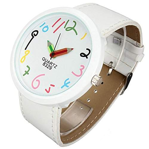 Damen grosses Gehaeuse Pointer Quarz Uhr Weiss Armbanduhr