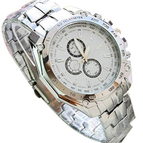 Mode Herrenuhr Edelstahl Quarz Analog Sport Armbanduhr Uhr Weiss