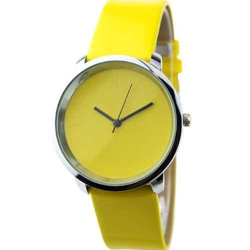 Unisex Mode Bunte Einfachheit Quarz Analog Leder Band Armbanduhr Uhr Gelb