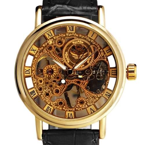 Herren Wunderschoene Ultra-duenne goldige Uhr Armbanduhr Carve Dial Mechanical