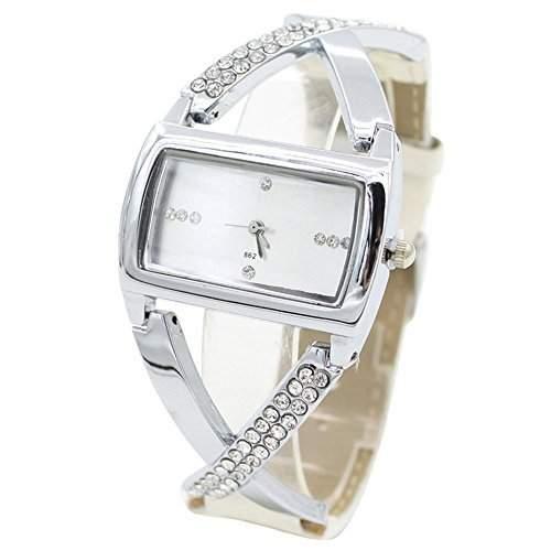 Moderne Damenuhr Analog Quarz Strass Uhr Armbanduhr Weiss