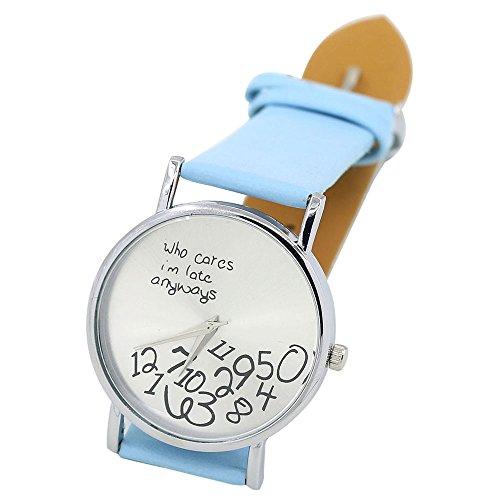 Sanwood Unisex mit Buchstaben Who Cares und Arabischen Nummern Kunstleder Uhr Hellblau