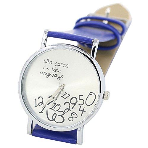 Sanwood Unisex mit Buchstaben Who Cares und Arabischen Nummern Kunstleder Uhr Saphirblau