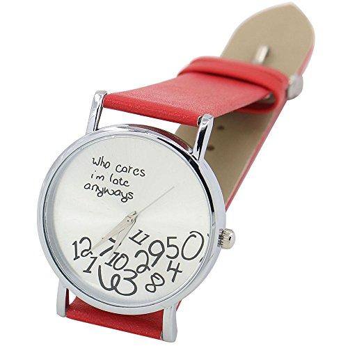 Sanwood Unisex mit Buchstaben Who Cares und Arabischen Nummern Kunstleder Uhr Rot