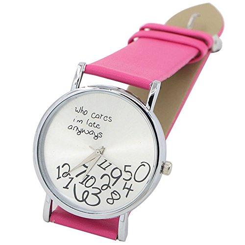 Sanwood Unisex mit Buchstaben Who Cares und Arabischen Nummern Kunstleder Uhr Rosarot