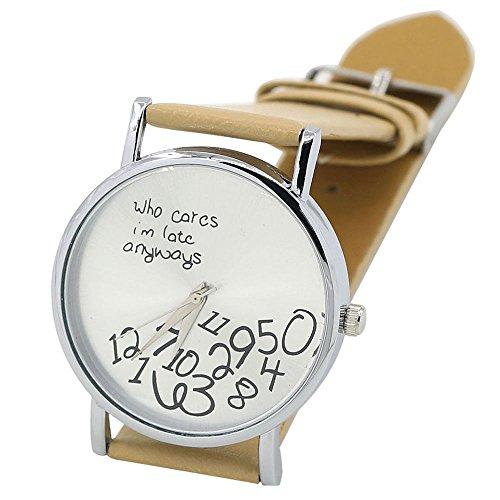 Sanwood Unisex mit Buchstaben Who Cares und Arabischen Nummern Kunstleder Uhr Beige