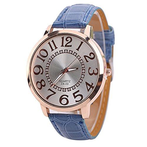 Sanwood Herren Damen grosse Ziffern Strass Uhr Armbanduhr Dunkelblau