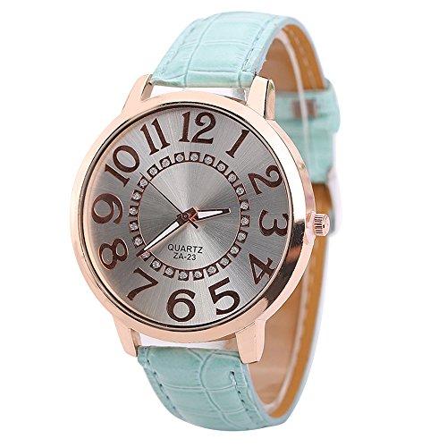 Sanwood Herren Damen grosse Ziffern Strass Uhr Armbanduhr Hellblau
