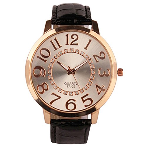 Sanwood Herren Damen grosse Ziffern Strass Uhr Armbanduhr Schwarz