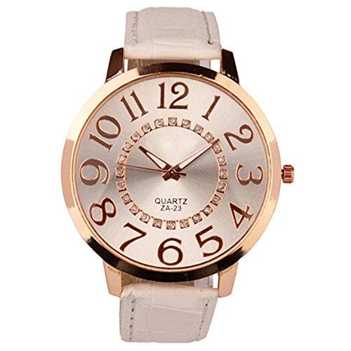 Sanwood Herren Damen grosse Ziffern Strass Uhr Armbanduhr Weiss