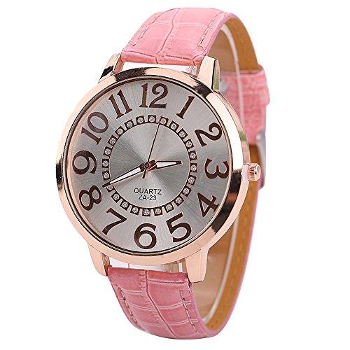 Sanwood Herren Damen grosse Ziffern Strass Uhr Armbanduhr Rosa