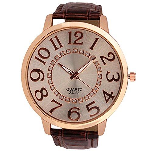 Sanwood Herren Damen grosse Ziffern Strass Uhr Armbanduhr Braun