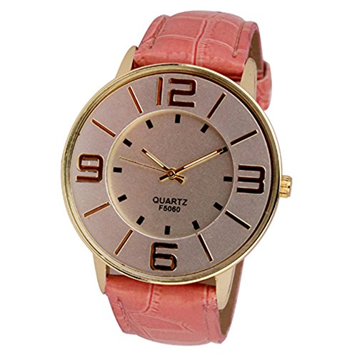 Sanwood Herren Damen Kunstleder grosse arabische Ziffern Uhr Armbanduhr Rosa