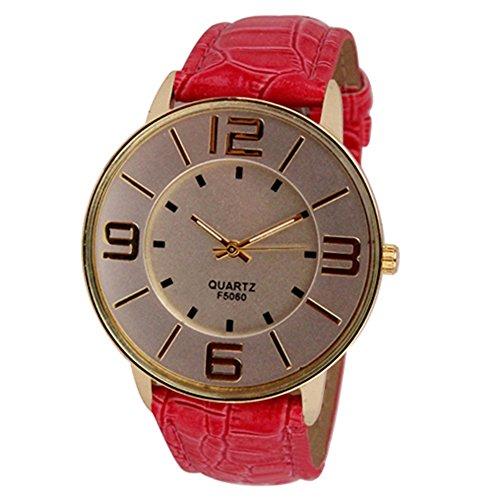 Sanwood Herren Damen Kunstleder grosse arabische Ziffern Uhr Armbanduhr Rot