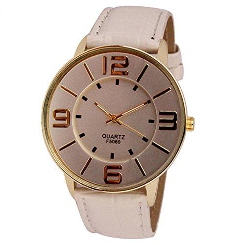 Sanwood Herren Damen Kunstleder grosse arabische Ziffern Uhr Armbanduhr Weiss