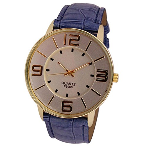 Sanwood Herren Damen Kunstleder grosse arabische Ziffern Uhr Armbanduhr Blau