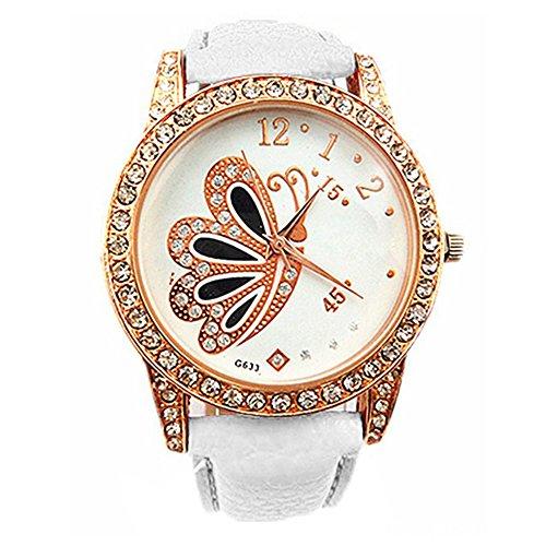 Mode Damen Retro Schmetterling Muster Strass Analoge Quarz Armbanduhr Uhr Weiss