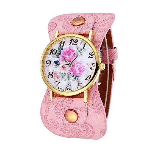 Damen schoene Pfingstrose Blumen Weitkunstleder Armband Armbanduhr Quarz Rosa