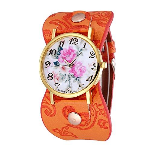 Damen schoene Pfingstrose Blumen Weitkunstleder Armband Armbanduhr Quarz Orange