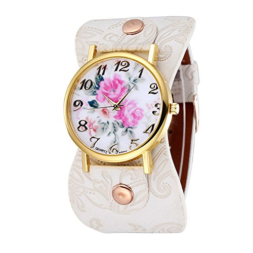 Damen schoene Pfingstrose Blumen Weitkunstleder Armband Armbanduhr Quarz Weiss