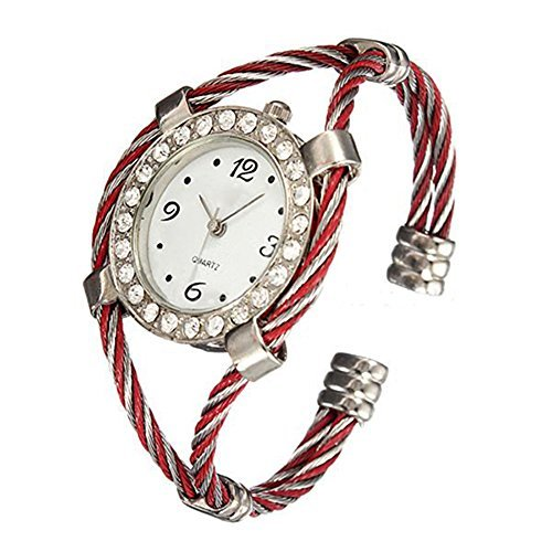 Stahl Strass Uhr gedrehtes Band Armband Armbanduhr Silver Red