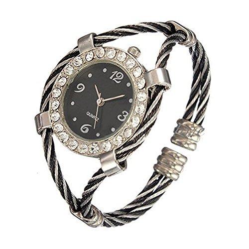 Stahl Strass Uhr gedrehtes Band Armband Armbanduhr Silver Black
